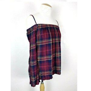 Cloth & Stone Anthro Plaid Off The Shoulder Blouse